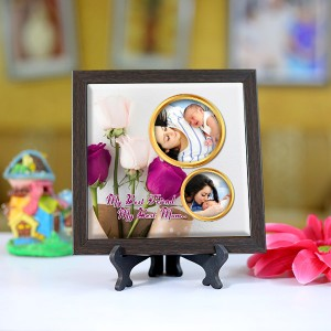 Personalized Photo Tiles with Frame for Mom 07