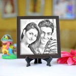 Personalized Photo sketch Tiles with Frame 6x6in