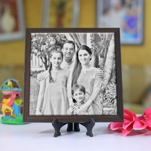 Personalized Photo sketch Tiles with Frame 8x8in