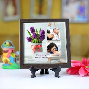 Personalized Photo Tiles with Frame for Mom 06