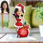 Christmas Caricature Female Photo Stand In