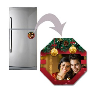 Christmas designed polygon shaped personalized fridge magnet