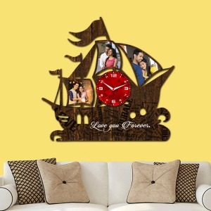 Wooden printed Ship design with clock collage frame backview