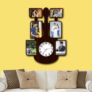 Wooden printed Guiter design with clock collage frame backview
