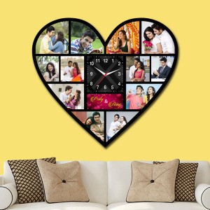 Wooden printed Heart design with clock collage frame backview