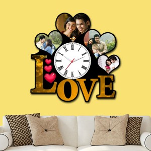 Wooden printed Love design with clock collage frame backview