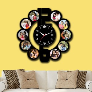 Wooden printed Dial design with clock collage frame backview