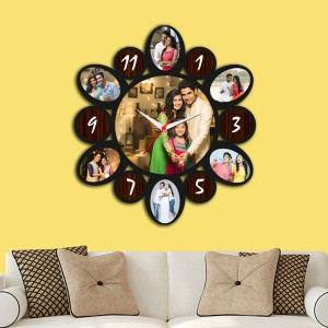 Wooden printed Oval dial design with clock collage frame backview