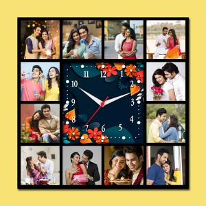 Wooden printed square design with clock collage frame