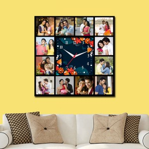 Wooden printed square design with clock collage frame backview