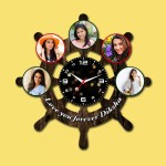 Wooden printed Boat wheel design with clock collage frame