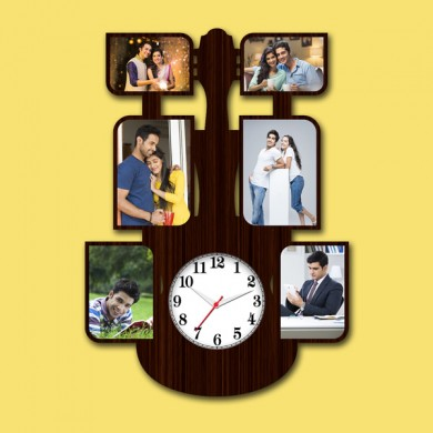 Wooden printed Guiter design with clock collage frame