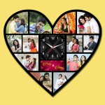 Wooden printed Heart design with clock collage frame
