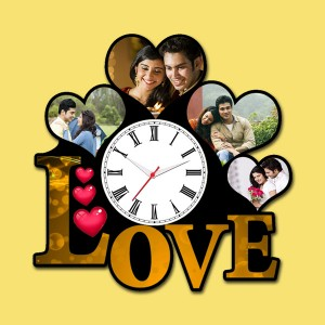 Wooden printed Love design with clock collage frame
