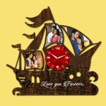 Wooden printed Ship design with clock collage frame