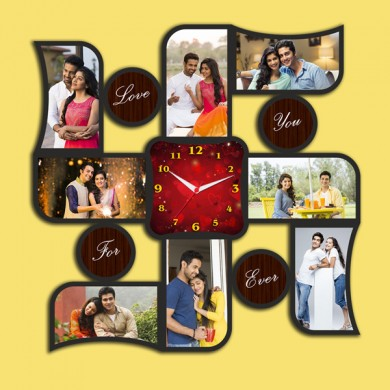 Wooden printed Swastik design with clock collage frame