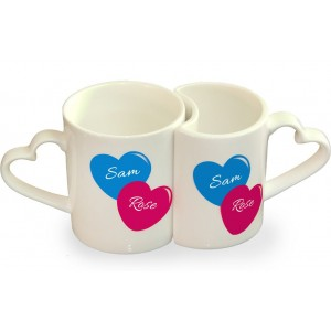 Personalized anniversary couple photo mug set backview