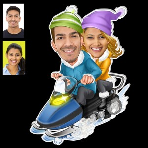 Personalized Ice Skating couple caricature fridge magnet backview