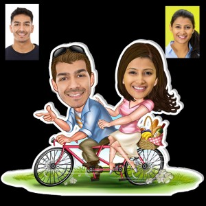 Personalized Cycling couple caricature fridge magnet backview