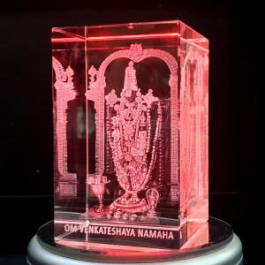 Box shaped crystal with 3D Tirupati Balaji inside - 50 X 50 X 80 (mm) backview