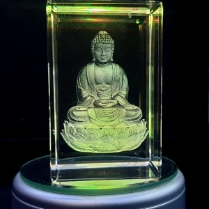Box shaped crystal with 3D Buddha inside - 50 X 50 X 80 (mm)