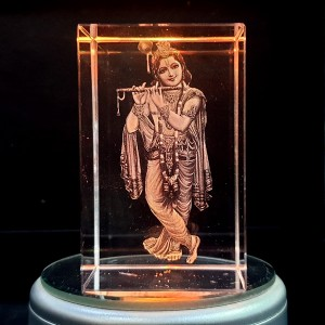 Box shaped crystal with 3D Krishna inside - 50 X 50 X 80 (mm)
