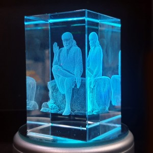 Box shaped crystal with 3D Sai Baba - 50 X 50 X 80 (mm)