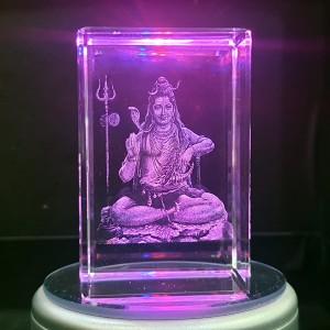Box shaped crystal with 3D Shiv Shankar inside - 50 X 50 X 80 (mm)