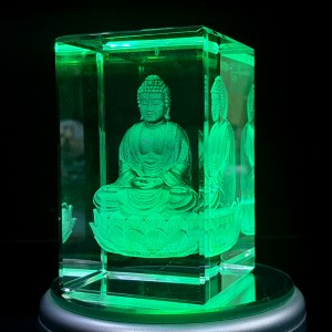 Box shaped crystal with 3D Buddha inside - 50 X 50 X 80 (mm) backview