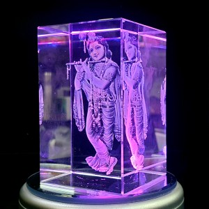 Box shaped crystal with 3D Krishna inside - 50 X 50 X 80 (mm) backview