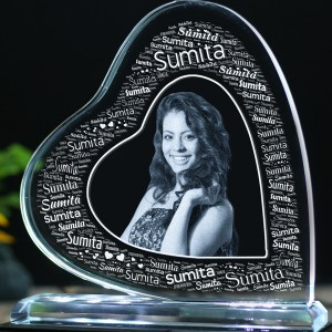 Heart shaped Tilt crystal with engraved photo and Name Art inside -150x150x12 (mm) with Slim White Light Base backview