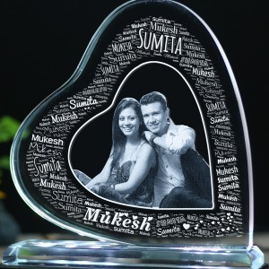Heart shaped Tilt crystal with engraved Couple photo and Name Art -150x150x12 (mm) with Slim White Light Base backview