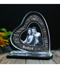 Heart shaped Tilt crystal with engraved Couple photo and Name Art -150x150x12 (mm) with Slim White Light Base