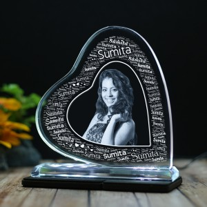 Heart shaped Tilt crystal with engraved photo and Name Art inside -150x150x12 (mm) with Slim White Light Base