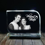 Rectangular shaped crystal with engraved photo inside for bhaiya bhabhi 01 - 175x125x12 (mm) with Slim White Light Base