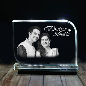 Rectangular shaped crystal with engraved photo inside for bhaiya bhabhi 02 - 175x125x12 (mm) with Slim White Light Base