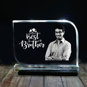 Rectangular shaped crystal with engraved photo inside for Big Brother 01 - 175x125x12 (mm) with Slim White Light Base