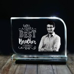 Rectangular shaped crystal with engraved photo inside for Big Brother 02 - 175x125x12 (mm) with Slim White Light Base