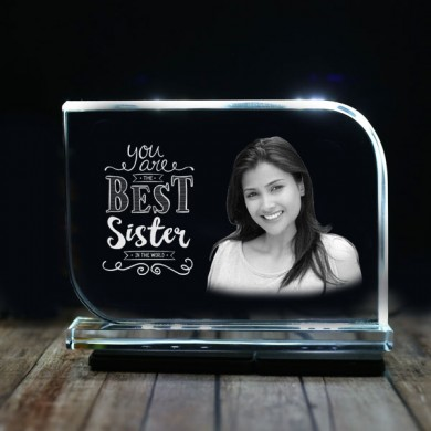 Rectangular shaped crystal with engraved photo inside for Sister 01 - 175x125x12 (mm) with Slim White Light Base