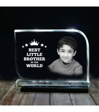 Rectangular shaped crystal with engraved photo inside for small brother 01 - 175x125x12 (mm) with Slim White Light Base
