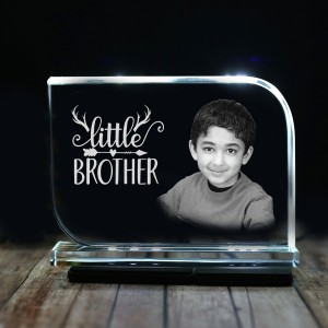 Rectangular shaped crystal with engraved photo inside for small brother 02 - 175x125x12 (mm) with Slim White Light Base