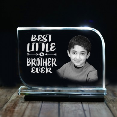 Rectangular shaped crystal with engraved photo inside for small brother 03 - 175x125x12 (mm) with Slim White Light Base