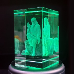 Box shaped crystal with 3D Sai Baba - 50 X 50 X 80 (mm) backview