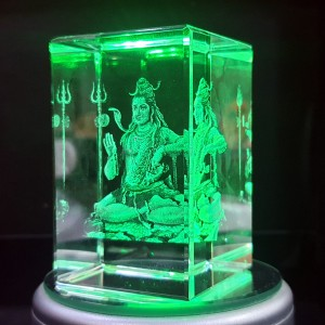 Box shaped crystal with 3D Shiv Shankar inside - 50 X 50 X 80 (mm) backview