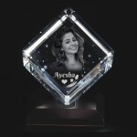 Cube shaped crystal with 3D photo inside with Free light base