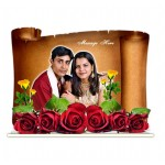 Personalized old paper shaped acrylic photo stand - large