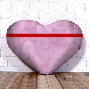 Personalized Heart Shape Cushion with Rose background Design  backview