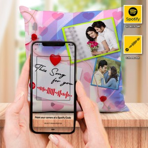 Personalized Cushion For love with Spotify Song QR code 04 backview