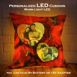Personalized LED Cushion with Dual Heart Design backview