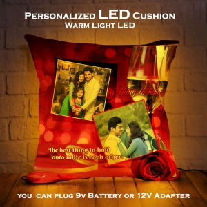 Personalized LED Cushion with Sham pen glass Design backview